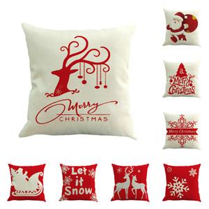2020 New Style rouge de Noël Elk Père Noël flocon de neige Linge Taie d'oreiller pillowslip Joyeux Noël 45 * 45cm Coussin Sofa T3I51216
