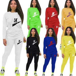 Kadınlar İki adet Moda Letter Baskılı Kazak Sport Stil Suit + Pantolon Tops Casual Tracksutis Toptan Womens