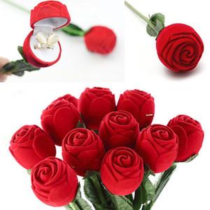 أحمر روز زهرة المخملية حامل الدائري أقراط عرض تخزين حالة المعلقات مجوهرات هدية مربع عيد الحب هدايا عيد ميلاد WQ628