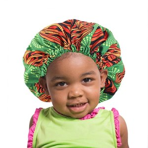 Baby Bonnet Cap Double Layer Silky Sleep Cap African Pattern Print Satin Lined Bonnet Women Hair Care Hat Headwrap