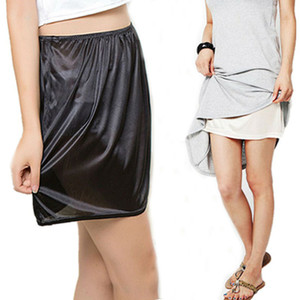 Women Satin Half Slip Underskirt Petticoat Under Dress Mini Skirt Safety Skirt Female Loose Anti-exposure Safety Skirts