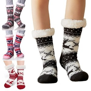 donna a maglia calze di cotone caldo inverno morbida maglia del pavimento dei calzini del pavimento di Natale per il freddo GWC2912