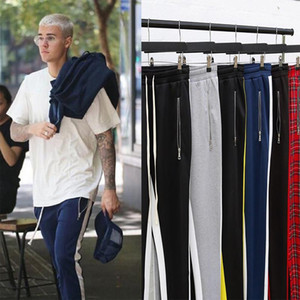 Pantalones de pista para hombre Moda Hip Hop Fitness Streetwear Pantalones Hombres Jogger Rayado Pegado Pegadores Sweetpants Mens Pantalones