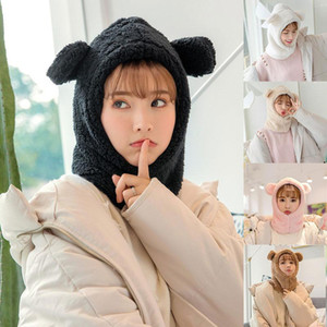 Winter Cute Bear Ears Bonnet Hat Windproof Neck Scarf Head Cover Night Cap Resuable Sleep Hat Headscarf Warm Head Accessories