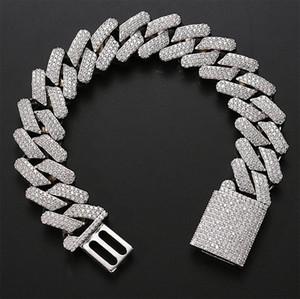 20mm Diamond Miami Prong Cubain Link Chaîne Chaîne Bracelets 14K Blanc Glassé Glafe Cubic Zirconia Bijoux 8inch 9inch Bracelet cubain