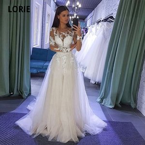 LORIE Long Sleeve Lace Appliques Wedding Dresses Boho Tulle Bride Beach Party Gown Back Button Illusion abito da sposa Q1110