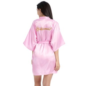 letter gilding Bridesmaid Robes lace waist tie morning gown make up dressing gown women Imitation silk Chemises wedding dress will and sandy