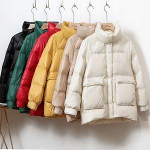 Cinessd 2020 Kış Yeni Koreli Windproof Aşağı Ceket Kadın Kısa Stand Yaka Big Cep Gevşek Parlak Ekmek Servis Kalın Coat t