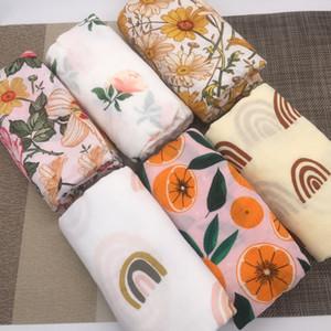 120x120cm 70% Bamboo+30% Cotton Swaddle Blanket Baby Blankets Newborn Muslin Swaddle Newborn Bedding 201128