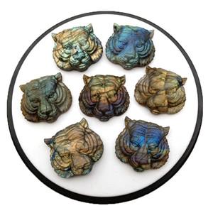 Esculpido Natural Labradorite Cabeça do tigre pingente de co Animal pedra pingente DIY Jóias Acessórios de cristal Ágata energia cura Semi-p