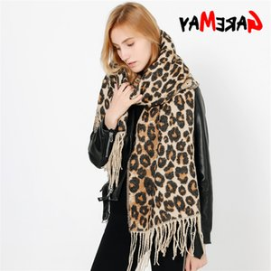 GareMay Women's Winter for Women Scarf Warm Soft Cashmere Thicken Long Shawls and Scarves Brown Leopard Poncho