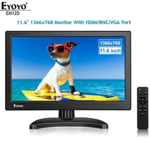 "Eyoyo EM12D 12 ""IPS PC TV Monitor ЖК-экран HD 1366x768 с BNC VGA AV USB для компьютерного дисплея CCTV CCTV"