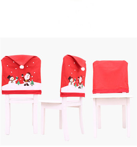 Merry Christmas Car Chair Cover Decor Nonwoven Santa Hat Chair Cover Xmas Dinner Table Decor Happy New Year OWC2777