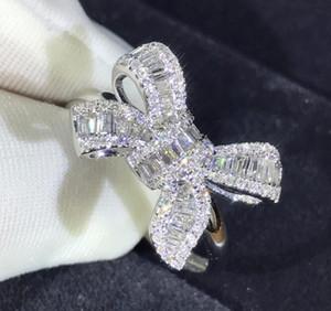 Мода Прекрасного Лук дизайн кольцо для венчания Сияющего кристалла Престижного кольца с CZ Алмазного камнем для женщин