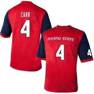 121 dame et jeune Derek carr Fresno State Bulldogs # 4 Real complet Brodery Jersey Taille S-4XL ou personnalisée N'importe quel nom de nom ou numéro de numéro
