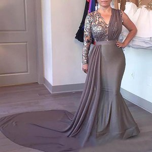 Gray Plus Size mother of the bride dresses v neck evening prom dresses robes de soirée long sleeve shinny lace Wedding Guest Gowns