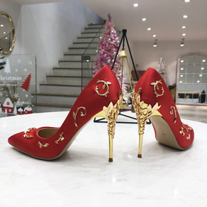 Fashion Red Designer Wedding Shoes For Bride Ralph Russo Comfortable Women High Heels Shoes for Wedding Evening Party Prom Shoes In Stock