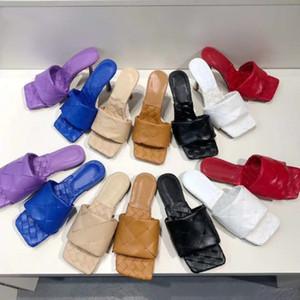 Sexy Flachfolien Sandalen gewebt Frauen Hausschuhe Square Maultiere Schuhe Damen Hochzeit High Heels Schuhe Kleid Schuhe 8 Farbe Hohe Qualität mit Box