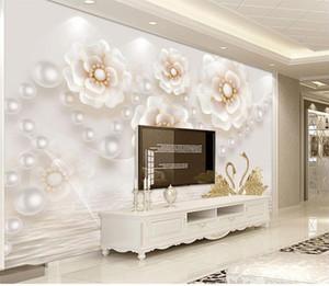 Custom Any Size Mural Wallpaper Home Decor Living Room White Pearl Flower TV Backdrop Bedroom Photo Wall Paper 3D
