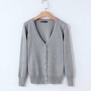 20 Solid Color Womens Knitted Cardigan Coat Autumn Winter 2019 Casual V Neck Long Sleeve Sweater Female Large Size 3XL 4XL R628