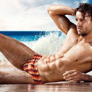 New 12 striped printed Swimwear Men briefs Sexy Swimsuit Swimming Trunks Bathing Suit Swim Beach Shorts Sunga board surfing 328