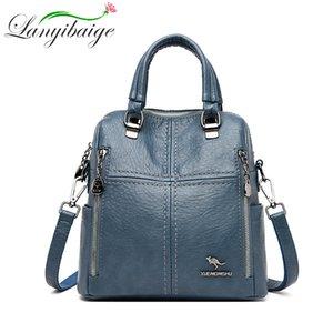 Lanyibaige Новый рюкзак Многофункциональный конструктор высокого качества кожи женщин Crossbody сумка ранцы путешествий Рюкзаки