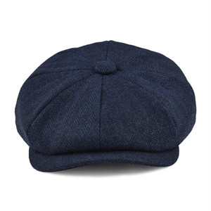 BOTVELA Wool Tweed Newsboy Cap Herringbone Men Women Gatsby Retro Hat Driver Flat Cap Black Brown Green Navy Blue 005 201027