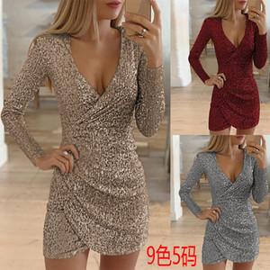 Mzqh3 2019 new autumn Skirt dress sexy V-neck bag hip irregular short skirt Sequin dress
