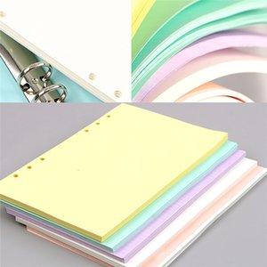40 시트 5 색 A6 느슨한 잎 단색 노트북 리필 나선형 바인더 내부 페이지 플래너 내부 필러 논문 학교 사무실 용 장비