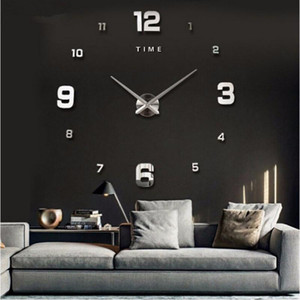 3D big wall clock modern design mute big digital clock acrylic mirror stickers oversized wall time letters home decoration