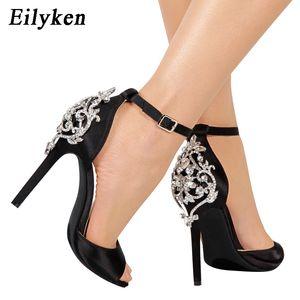 Eilyken Rhinestone Stiletto Sexy Lady Кристалл Тонкие каблуки Сандалии Open Toe Summer Party Dress нагнетает ботинки Black 0928