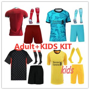 Men+kids kit 2020 2021 soccer Jersey Home Red Away Blue third black Shirt 20 21 Men and kids Football Uniforms kit and socks