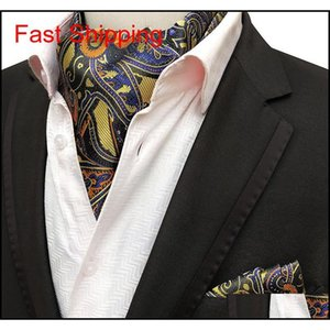 2 pz Uomini Jacquard Pocket Square Groom Wedding Tuxedo Cravat Ascot Scrunch Banchetto Cravatta Paisley Neck Neck Tie Qyljby Queen66