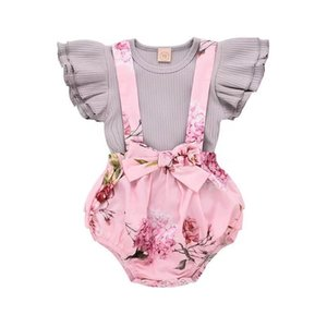 Wholesale INS Cute Baby Girls clothes children kids clothing Flying Sleeves Pink top Romper Overall Bib Shorts baby girl clothes Set