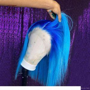 Бразильские волосы Ombre Blue 13x4 кружевные фронтские парики Человеческие волосы Remy Ombre Bob Wig для женщин Предварительно сорванный короткий короткий боб боб