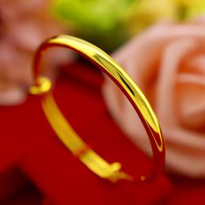 Kadınlar Düğün Engangement kayabilen için klasik 24k Altın Yuvarlak Bilezik Non-Fading Güzel Takı Hediyeler Smooth