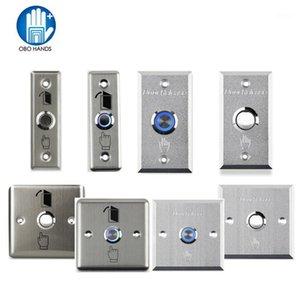 Bouton de sortie de porte en acier inoxydable en métal Appuyez sur le bouton de déverrouillage de la maison ouverte avec la lumière LED pour le système de verrouillage de contrôle d'accès NO / COM1