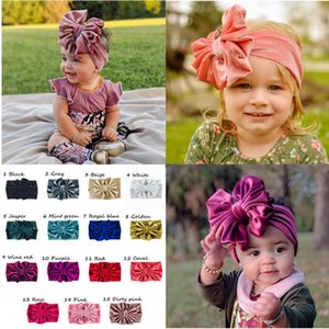 15 Colors Cute Big Bow Hairband Baby Kids Girls Toddler Velvet Elastic Headband Knotted Turban Head Wraps Bow-knot Hair Accessories