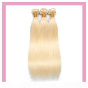 Индийские человеческие наращивания волос оптом блондинка прямой 613 # блондинка светлый цвет один пакетные изделия волос 10-32 дюйма