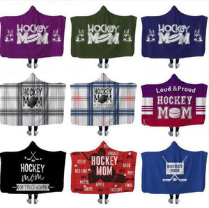 Hockey Hooded blankets Plush Sherpa Blanket Xmas 3D Printed Cape Cloak Fleece Soft Winter Swaddling Bedding Quilt Nap Wraps BWF1174