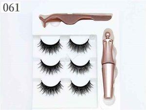 Girls 3 Pairs Magnetic Eyelashes False Lashes + Liquid Eyeliner + Tweezer Eye makeup set Reusable Natural 3D Magnet False Eyelash F101907