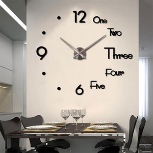 Fowecelt Acrylic 3D Large Wall Clock Sticker DIY Aesthetic Room Decor Modern Living Room Decoration Clock On the Wall Numbers