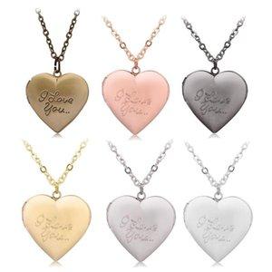 Customized Heart-Shape I Love You Engraved Locket Necklace DIY Photo Box Pendant Nekclace Jewelry