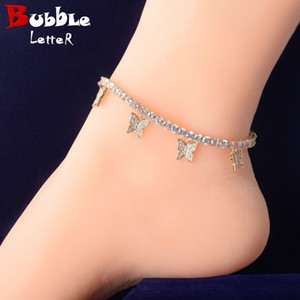 4MM Gold Color With Animal Butterfly Anklet for Women Tennis Chain Iced-Out Material Copper Adjustable Hip Hop Rock Street Charms Jewelry