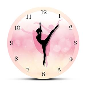 Girl Bedroom Decor Ballet Girl Princess Pink Wall Clock Baby Girl Dancing Wall Clock Ballerina Moving Leg Dancing Clock Watch LJ200827