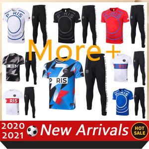 2020 2021 2021 باريس قصيرة الأكمام بولو رياضية قميص السراويل كرة القدم التدريب دعوى Survetement 20 21 باريس Jordam Football Mbappe الكبار