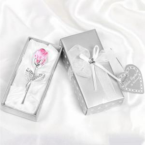 Multicolor Crystal Rose Favors regalos de boda románticos con favores de la caja colorida Favores de la ducha de bebé adornos de recuerdo para el invitado LXL566DXP