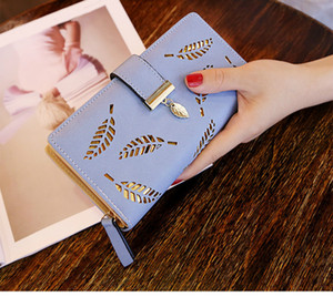 Women Wallet PU Leather Purse Female Long Wallet Gold Hollow Leaves Pouch Handbag For Women fashion Coin Purse Card new Holders Clutch