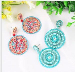 Bohemian Handmade Earrings for Women Girls Colorful Rice Bead Drop Dangle Chandelier Eardrop Jewelry Accessories Wholesaleps1887