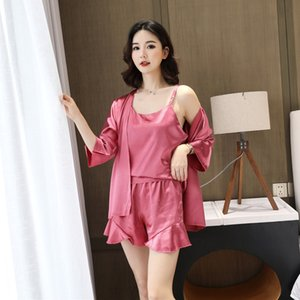 Foply Women Silk Satin Pijamas Set 3 piezas Correa Sling Shorts Shorts Robe Pijamas Spring Summer Sleepwear Shorts Soft Casual Home Use W1225